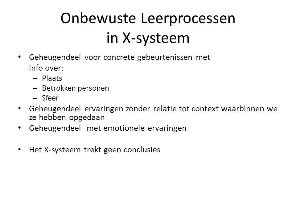 Onbewuste Leerprocessen in X-systeem Geheugendeel voor concrete gebeurtenissen met info over: – Plaats – Betrokken personen – Sfeer Geheugendeel ervar