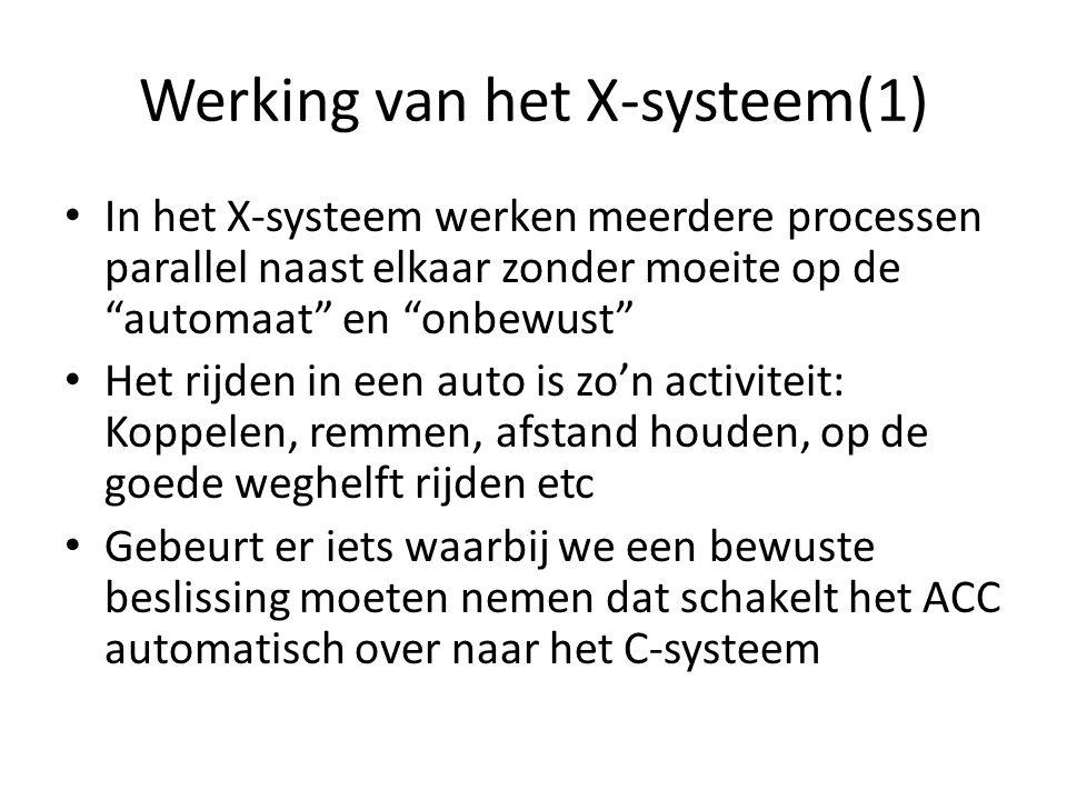 """Werking van het X-systeem(1) In het X-systeem werken meerdere processen parallel naast elkaar zonder moeite op de """"automaat"""" en """"onbewust"""" Het rijden"""