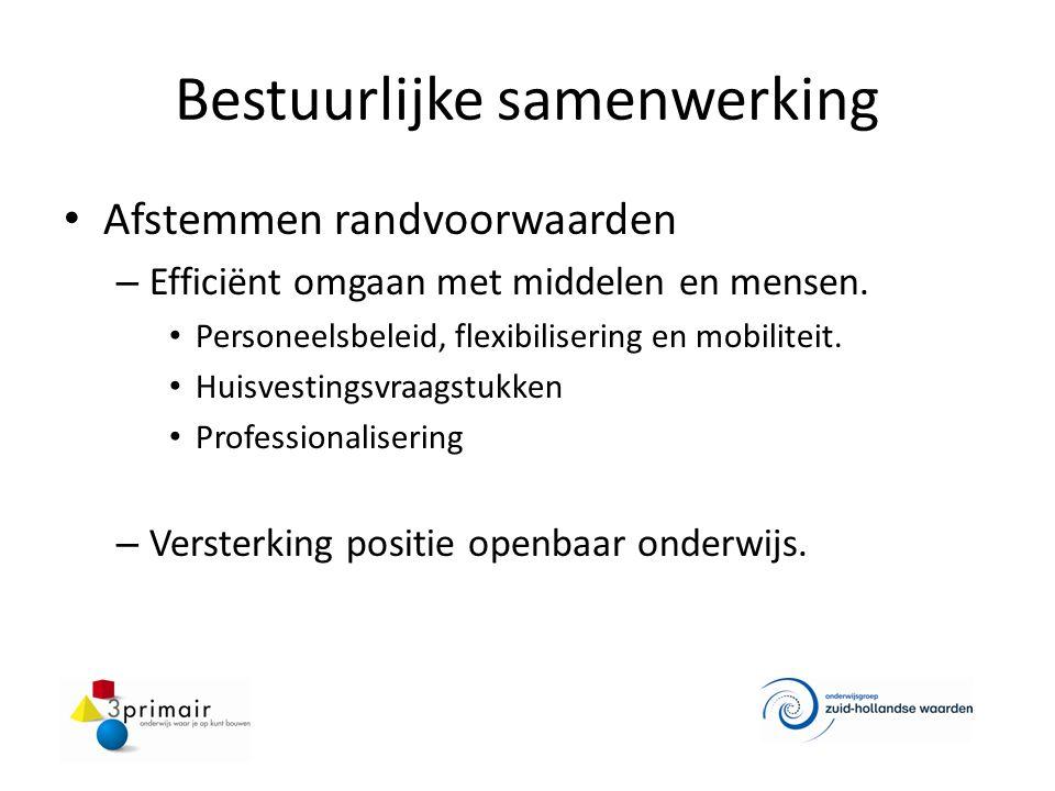 Bestuurlijke samenwerking Afstemmen randvoorwaarden – Efficiënt omgaan met middelen en mensen. Personeelsbeleid, flexibilisering en mobiliteit. Huisve