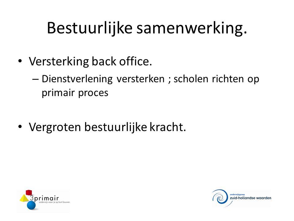 Bestuurlijke samenwerking. Versterking back office. – Dienstverlening versterken ; scholen richten op primair proces Vergroten bestuurlijke kracht.