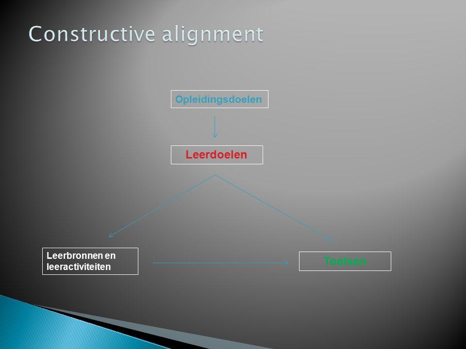 1.Constructive alignment: duidelijke relatie tussen leerdoelen, leeractiviteiten en leeropbrengst.