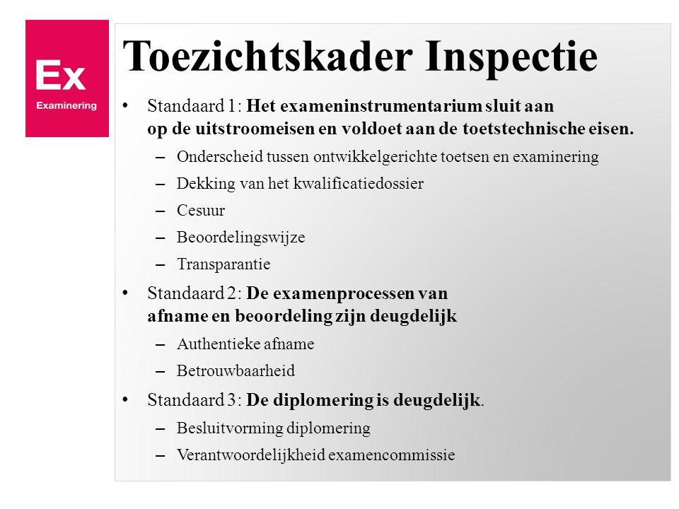 Toezichtskader Inspectie Standaard 1: Het exameninstrumentarium sluit aan op de uitstroomeisen en voldoet aan de toetstechnische eisen.