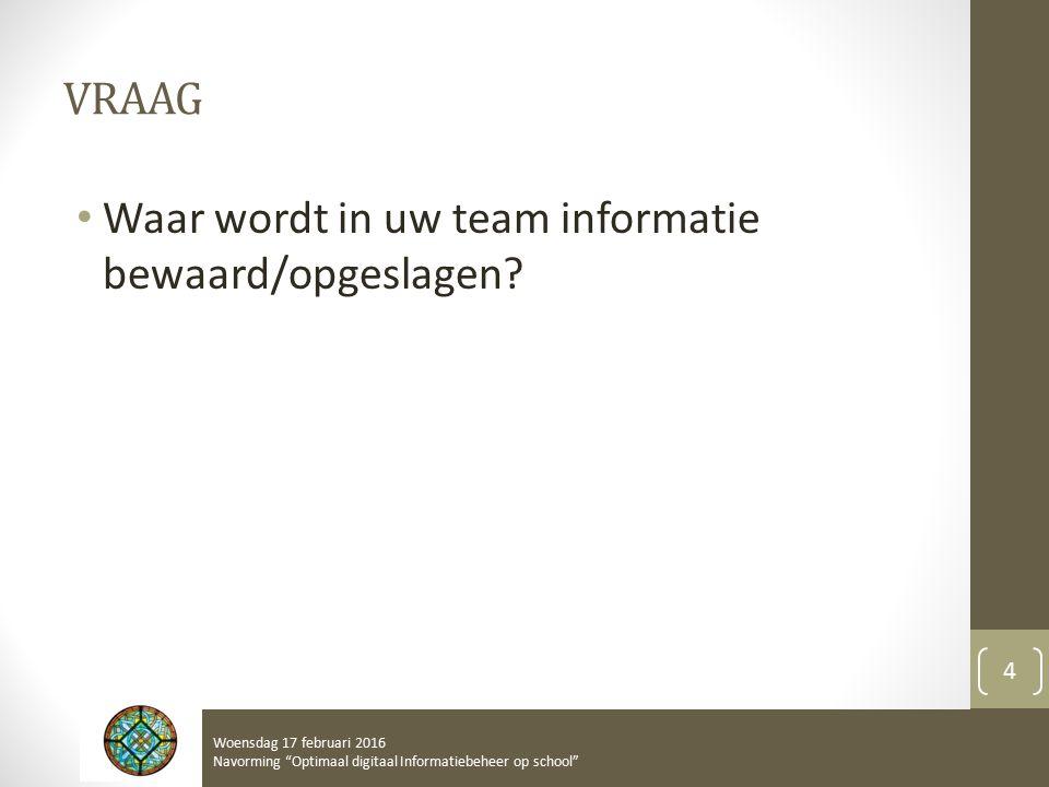 VRAAG Waar wordt in uw team informatie bewaard/opgeslagen.