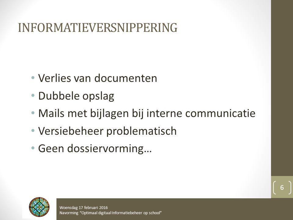 INFORMATIEVERSNIPPERING Verlies van documenten Dubbele opslag Mails met bijlagen bij interne communicatie Versiebeheer problematisch Geen dossiervormi