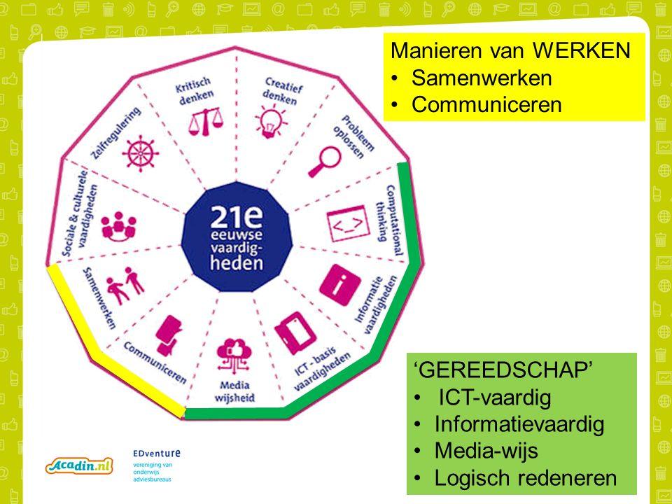 Manieren van WERKEN Samenwerken Communiceren 'GEREEDSCHAP' ICT-vaardig Informatievaardig Media-wijs Logisch redeneren
