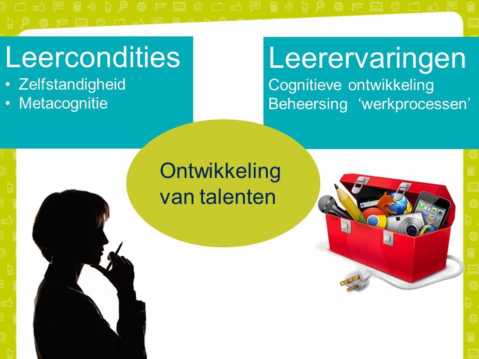 Leercondities Zelfstandigheid Metacognitie Leerervaringen Cognitieve ontwikkeling Beheersing 'werkprocessen' Ontwikkeling van talenten