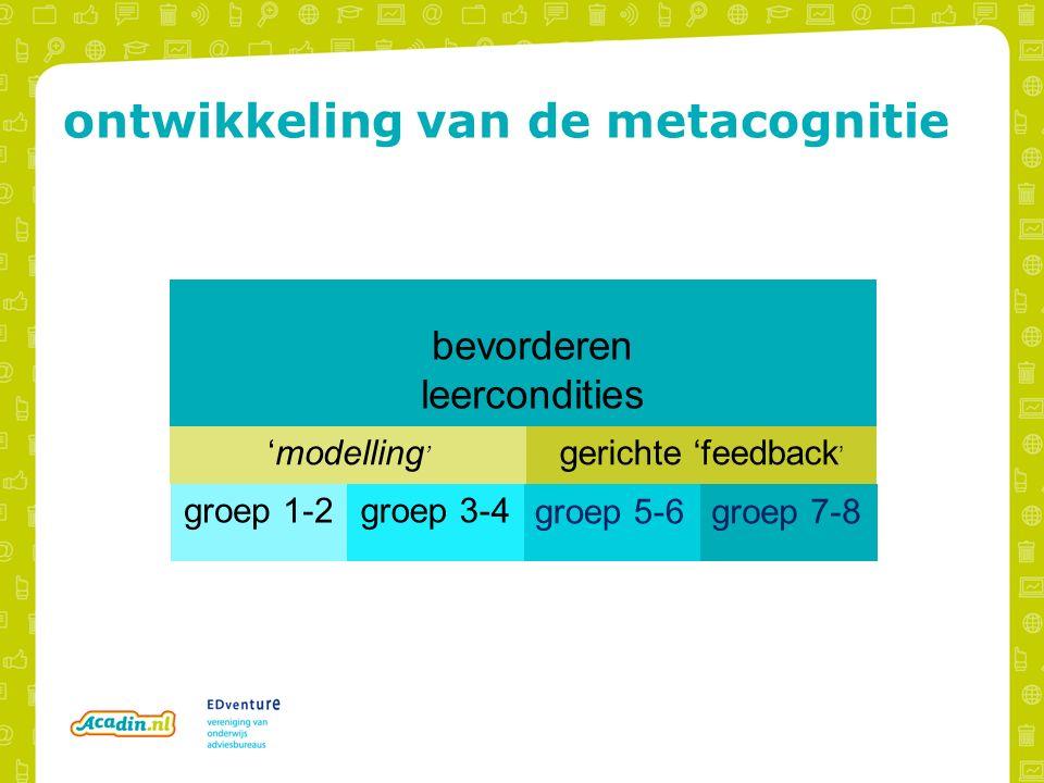 ontwikkeling van de metacognitie bevorderen leercondities groep 1-2groep 3-4 groep 5-6groep 7-8 'modelling ' gerichte 'feedback '