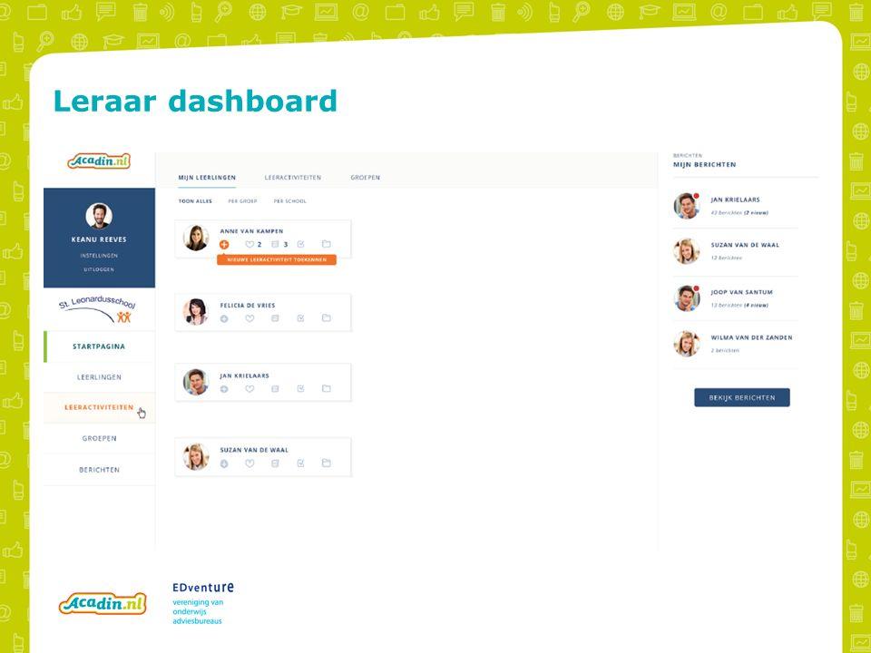 Leraar dashboard