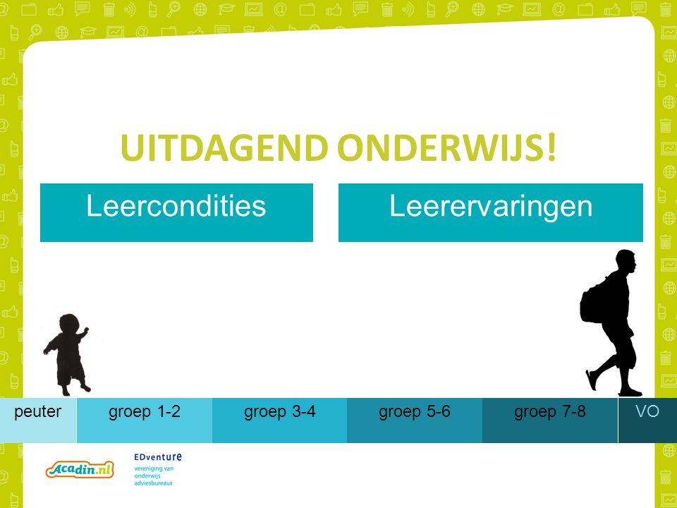 UITDAGEND ONDERWIJS! groep 1-2groep 3-4groep 5-6groep 7-8peuterVO LeerconditiesLeerervaringen