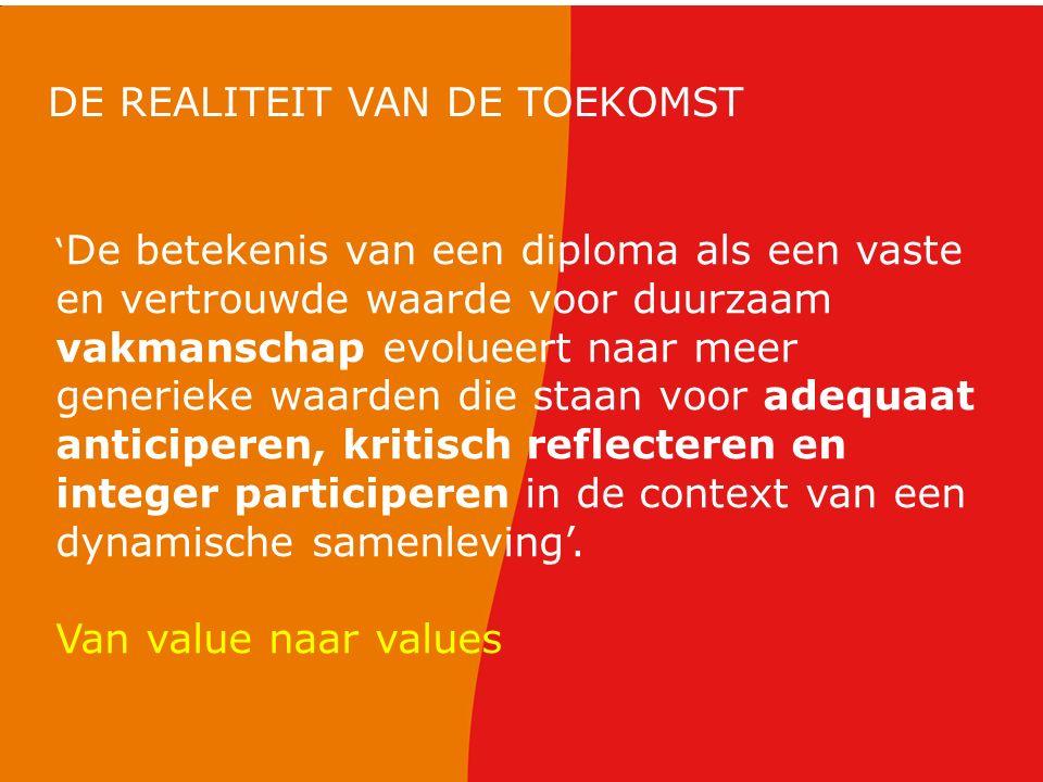 ' De betekenis van een diploma als een vaste en vertrouwde waarde voor duurzaam vakmanschap evolueert naar meer generieke waarden die staan voor adequ