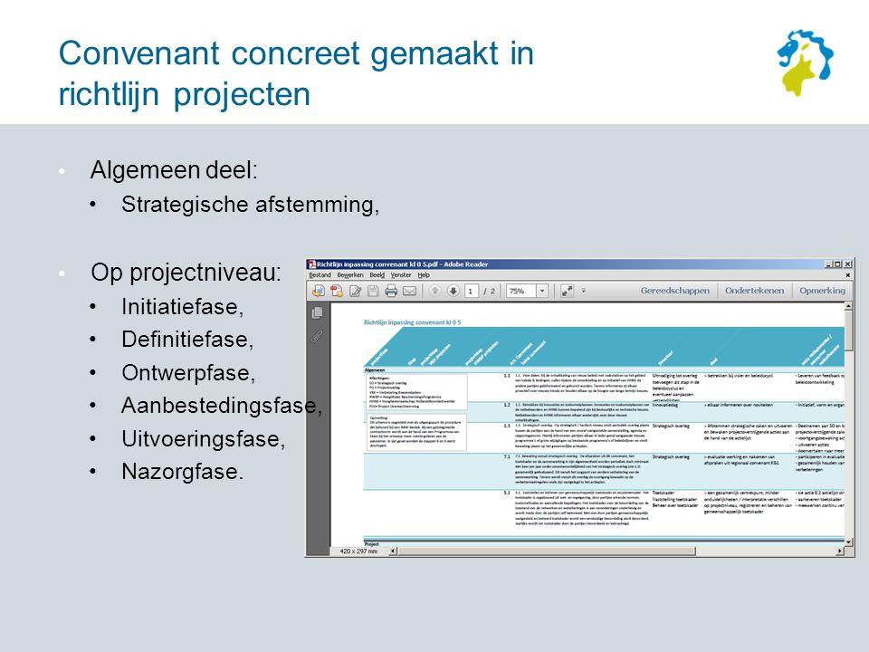 Convenant concreet gemaakt in richtlijn projecten Algemeen deel: Strategische afstemming, Op projectniveau: Initiatiefase, Definitiefase, Ontwerpfase, Aanbestedingsfase, Uitvoeringsfase, Nazorgfase.