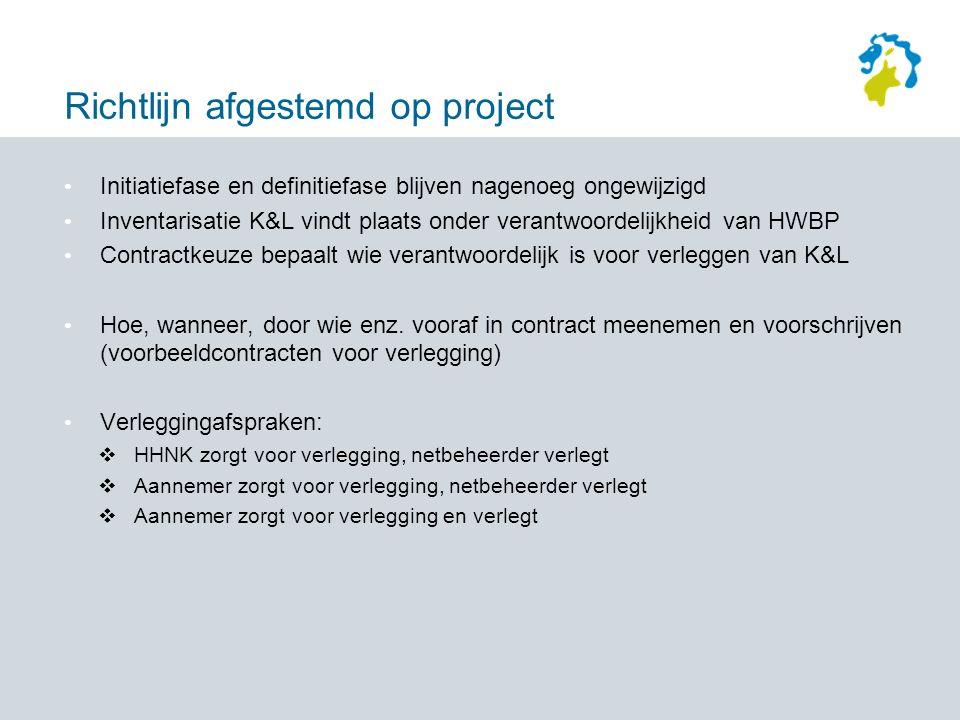 Richtlijn afgestemd op project Initiatiefase en definitiefase blijven nagenoeg ongewijzigd Inventarisatie K&L vindt plaats onder verantwoordelijkheid van HWBP Contractkeuze bepaalt wie verantwoordelijk is voor verleggen van K&L Hoe, wanneer, door wie enz.