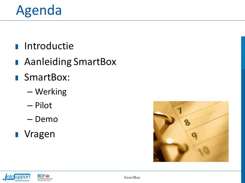 Agenda Introductie Aanleiding SmartBox SmartBox: – Werking – Pilot – Demo Vragen SmartBox