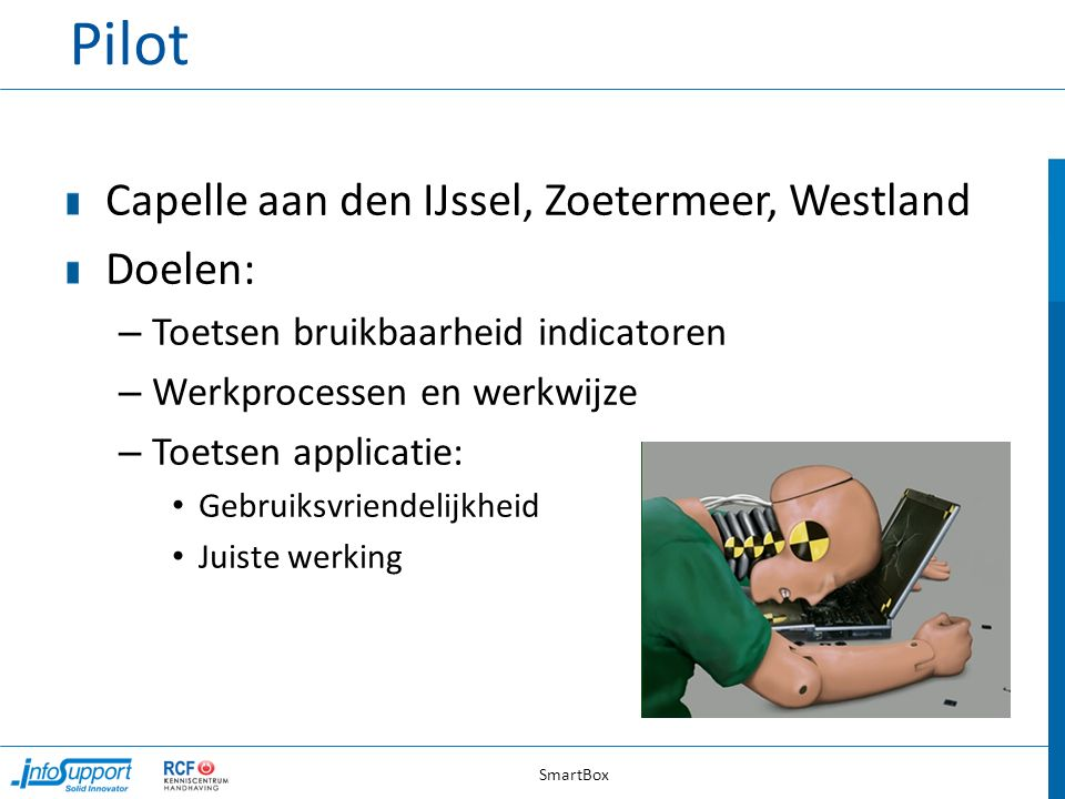 Pilot Capelle aan den IJssel, Zoetermeer, Westland Doelen: – Toetsen bruikbaarheid indicatoren – Werkprocessen en werkwijze – Toetsen applicatie: Gebruiksvriendelijkheid Juiste werking SmartBox