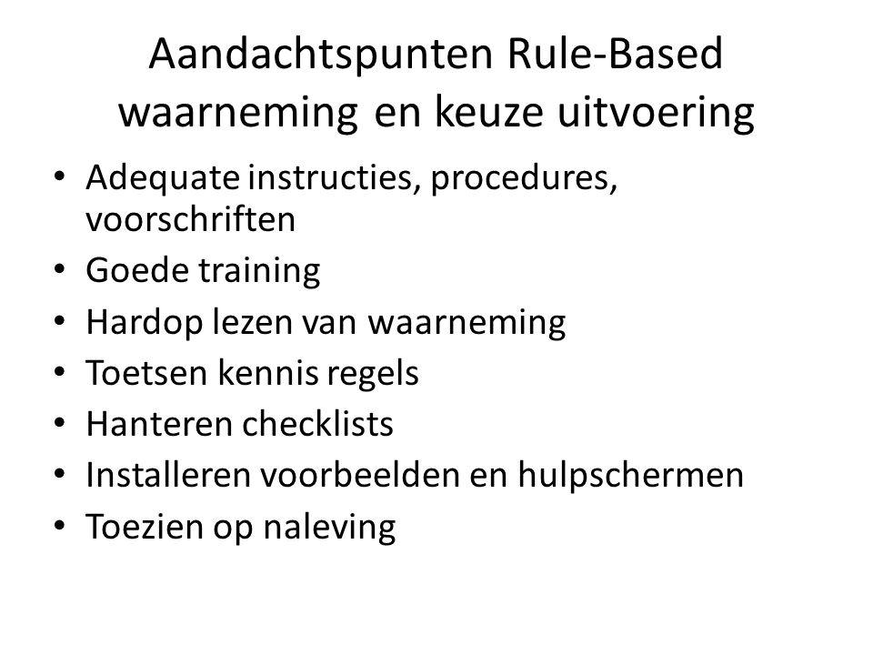 Aandachtspunten Rule-Based waarneming en keuze uitvoering Adequate instructies, procedures, voorschriften Goede training Hardop lezen van waarneming T