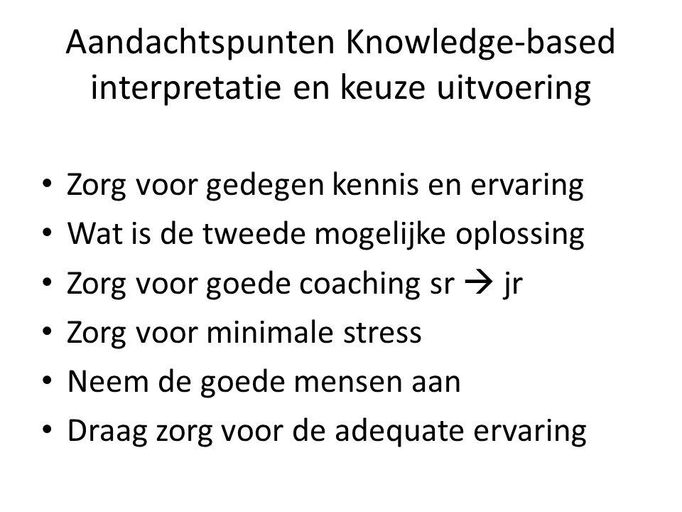 Aandachtspunten Knowledge-based interpretatie en keuze uitvoering Zorg voor gedegen kennis en ervaring Wat is de tweede mogelijke oplossing Zorg voor