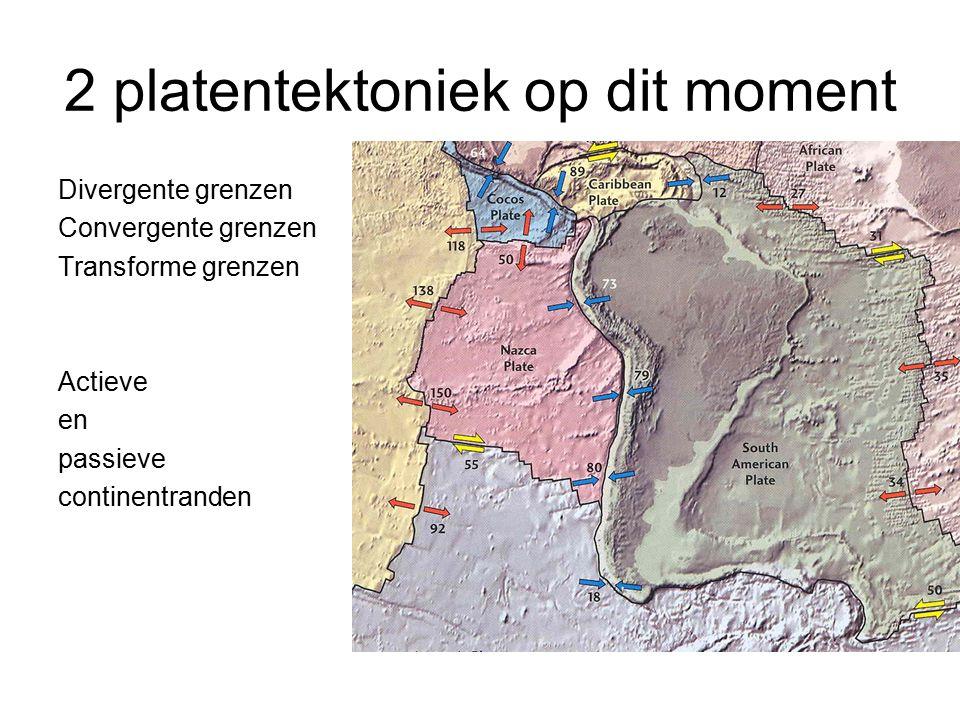 2 platentektoniek op dit moment Divergente grenzen Convergente grenzen Transforme grenzen Actieve en passieve continentranden