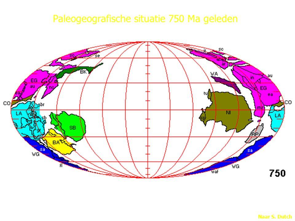 Naar S. Dutch Paleogeografische situatie 750 Ma geleden