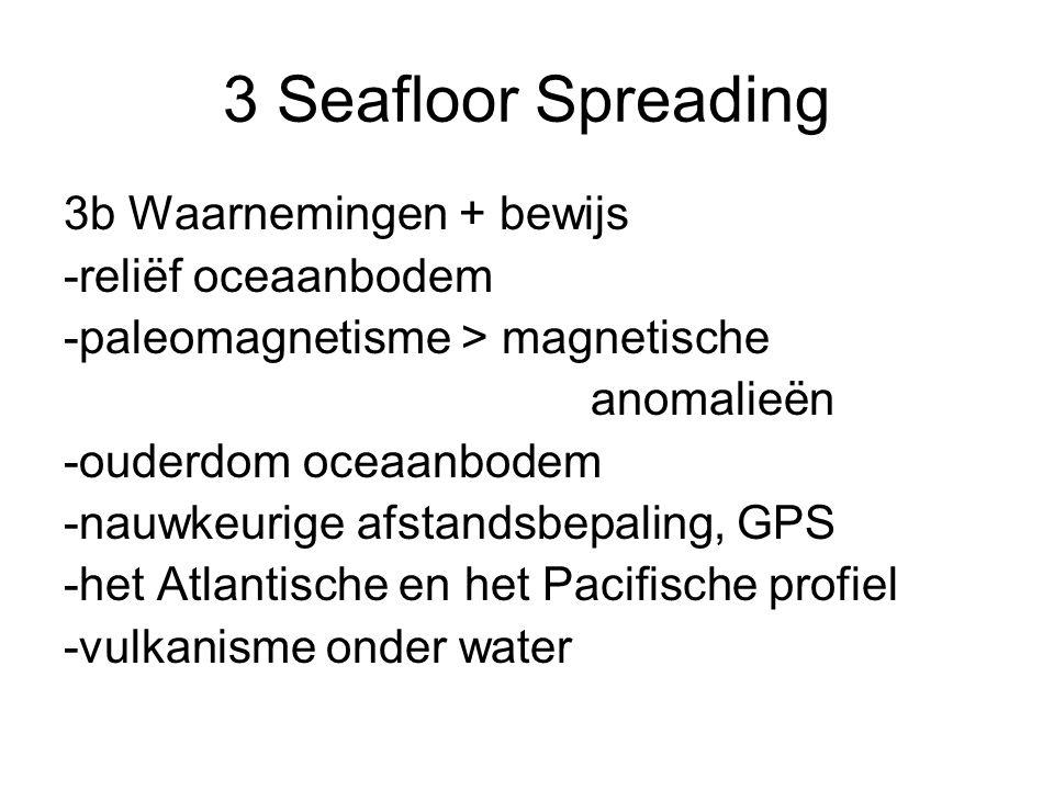 3b Waarnemingen + bewijs -reliëf oceaanbodem -paleomagnetisme > magnetische anomalieën -ouderdom oceaanbodem -nauwkeurige afstandsbepaling, GPS -het A
