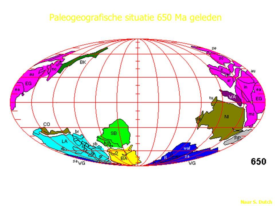 Naar S. Dutch Paleogeografische situatie 650 Ma geleden