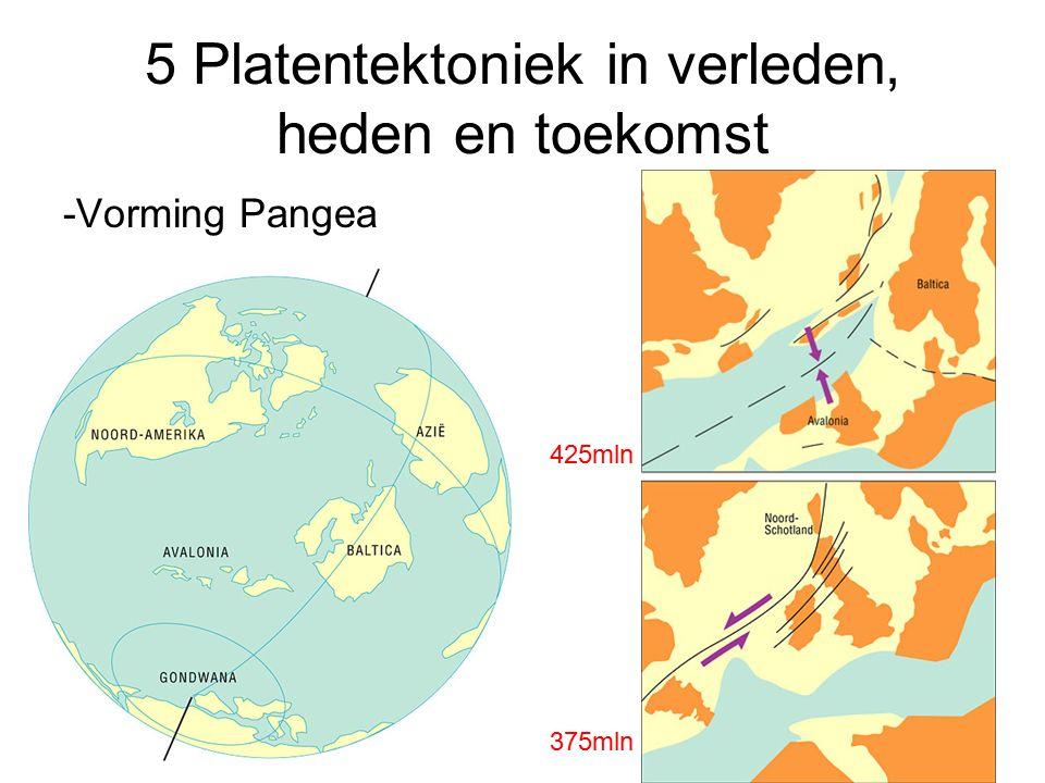 5 Platentektoniek in verleden, heden en toekomst -Vorming Pangea 425mln 375mln