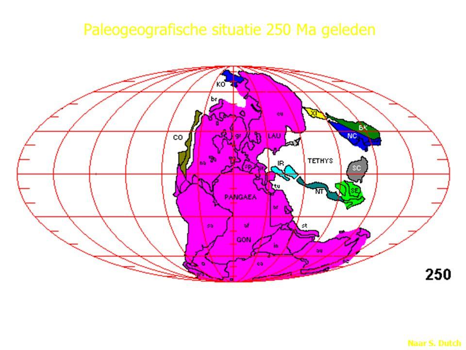 Naar S. Dutch Paleogeografische situatie 250 Ma geleden