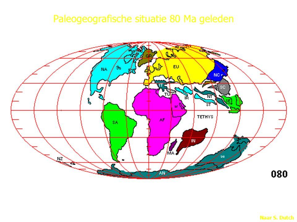 Naar S. Dutch Paleogeografische situatie 80 Ma geleden