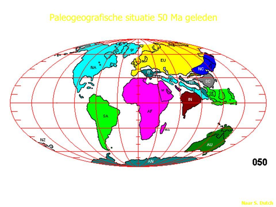Naar S. Dutch Paleogeografische situatie 50 Ma geleden