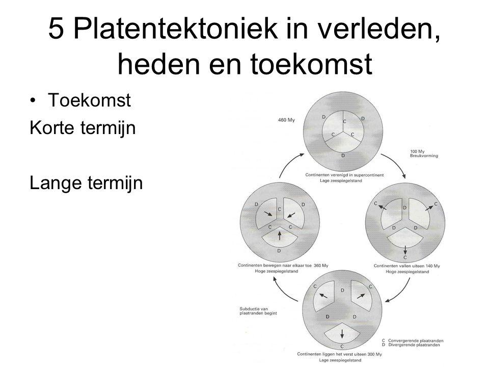 5 Platentektoniek in verleden, heden en toekomst Toekomst Korte termijn Lange termijn