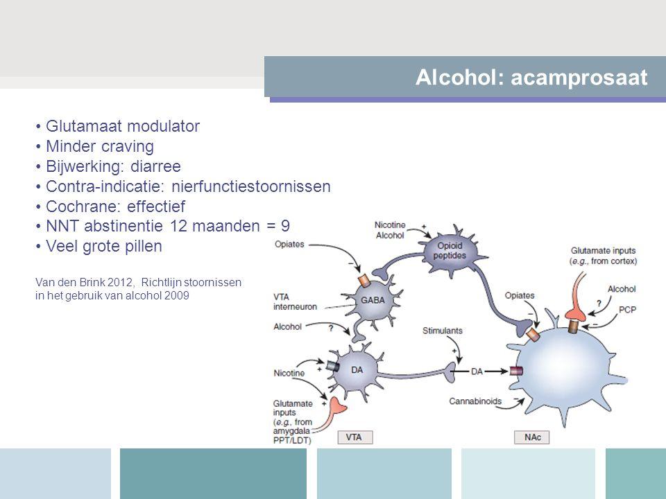 Alcohol: acamprosaat Glutamaat modulator Minder craving Bijwerking: diarree Contra-indicatie: nierfunctiestoornissen Cochrane: effectief NNT abstinentie 12 maanden = 9 Veel grote pillen Van den Brink 2012, Richtlijn stoornissen in het gebruik van alcohol 2009