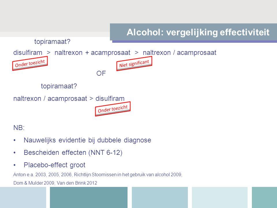 Alcohol: vergelijking effectiviteit disulfiram > naltrexon + acamprosaat > naltrexon / acamprosaat OF topiramaat.