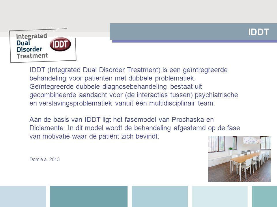 IDDT IDDT (Integrated Dual Disorder Treatment) is een geïntregreerde behandeling voor patienten met dubbele problematiek.