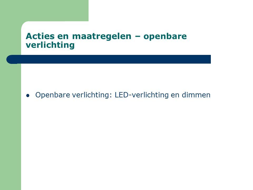 Acties en maatregelen – openbare verlichting Openbare verlichting: LED-verlichting en dimmen