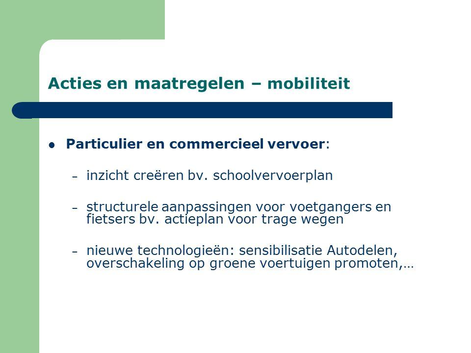 Acties en maatregelen – mobiliteit Particulier en commercieel vervoer: – inzicht creëren bv.