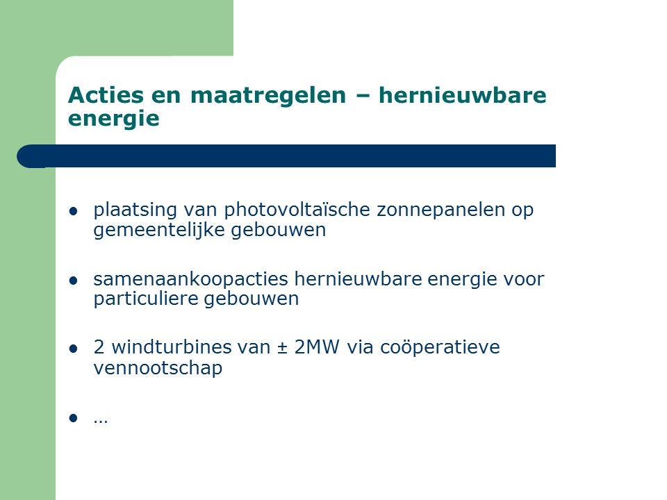 Acties en maatregelen – hernieuwbare energie plaatsing van photovoltaïsche zonnepanelen op gemeentelijke gebouwen samenaankoopacties hernieuwbare energie voor particuliere gebouwen 2 windturbines van ± 2MW via coöperatieve vennootschap …