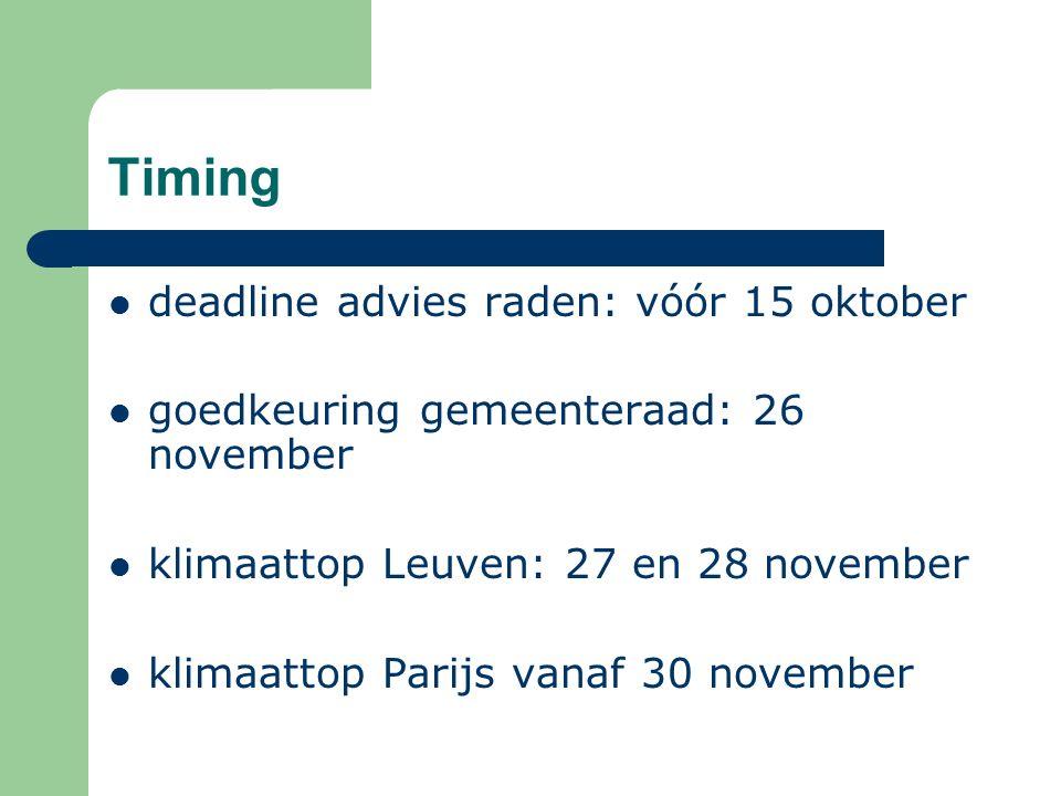 Timing deadline advies raden: vóór 15 oktober goedkeuring gemeenteraad: 26 november klimaattop Leuven: 27 en 28 november klimaattop Parijs vanaf 30 november