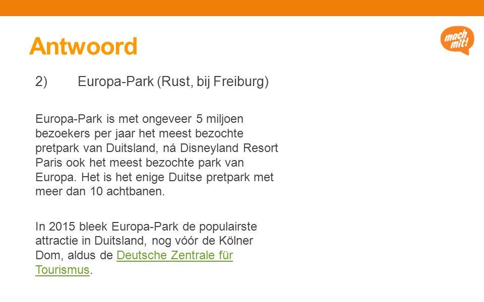 Antwoord 2) Europa-Park (Rust, bij Freiburg) Europa-Park is met ongeveer 5 miljoen bezoekers per jaar het meest bezochte pretpark van Duitsland, ná Disneyland Resort Paris ook het meest bezochte park van Europa.
