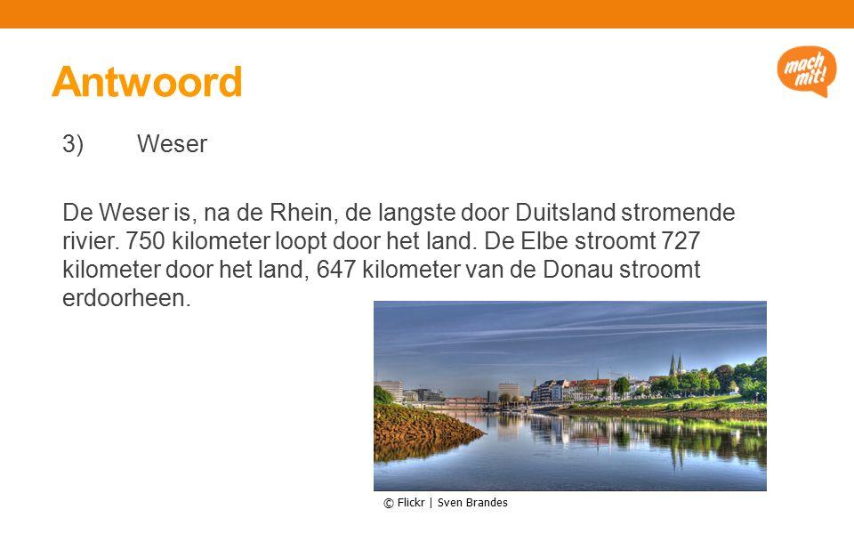 Antwoord 3) Weser De Weser is, na de Rhein, de langste door Duitsland stromende rivier.
