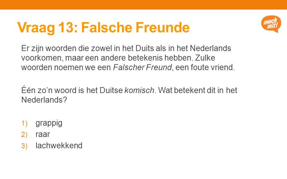Vraag 13: Falsche Freunde Er zijn woorden die zowel in het Duits als in het Nederlands voorkomen, maar een andere betekenis hebben.