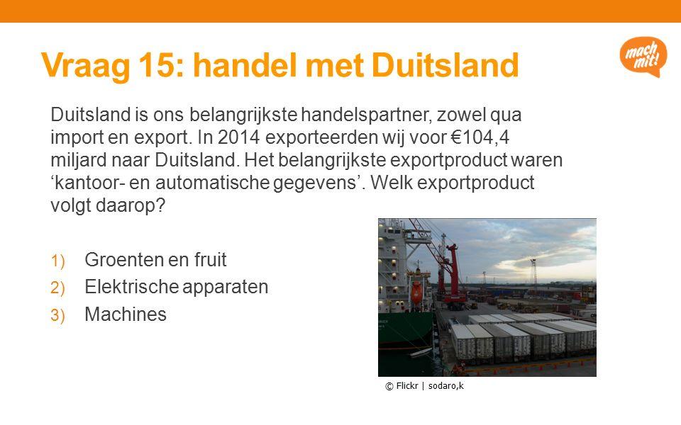 Vraag 15: handel met Duitsland Duitsland is ons belangrijkste handelspartner, zowel qua import en export.