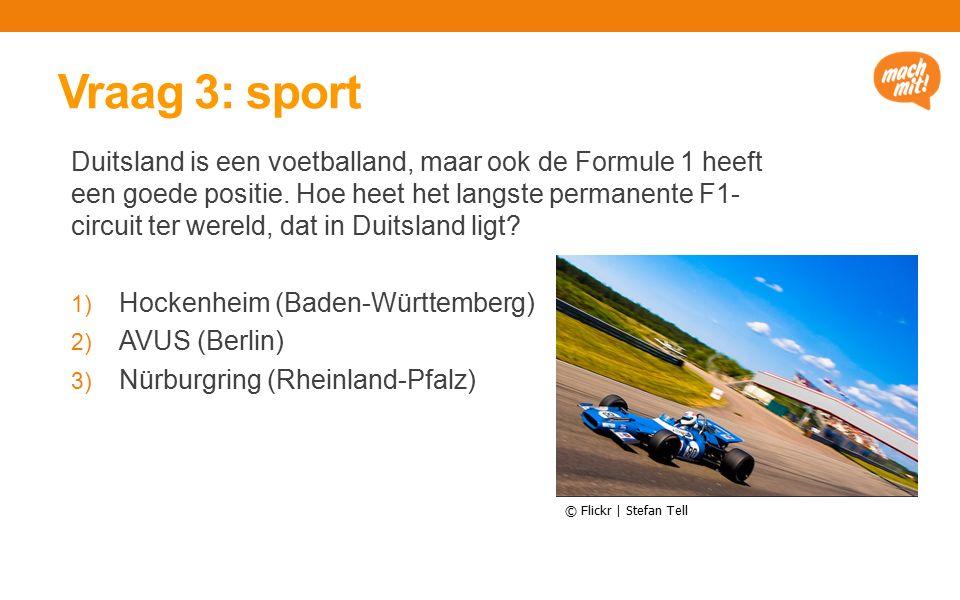Vraag 3: sport Duitsland is een voetballand, maar ook de Formule 1 heeft een goede positie.