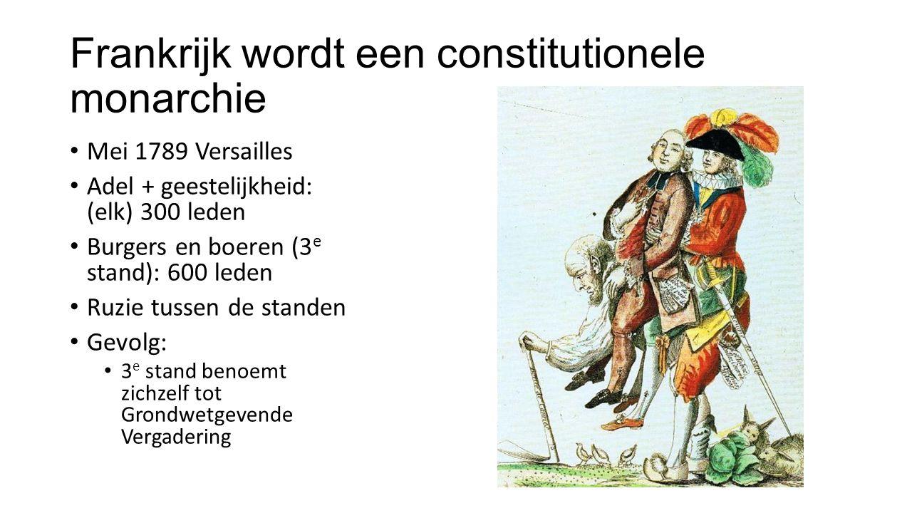 Frankrijk wordt een constitutionele monarchie Mei 1789 Versailles Adel + geestelijkheid: (elk) 300 leden Burgers en boeren (3 e stand): 600 leden Ruzi