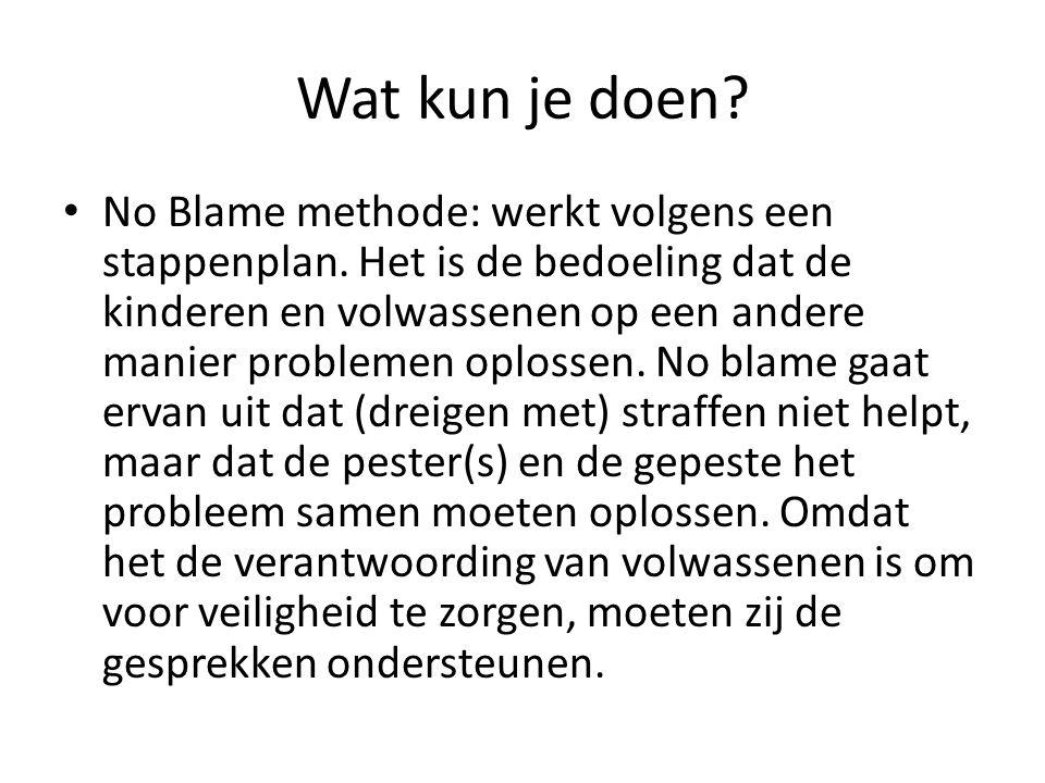 Wat kun je doen. No Blame methode: werkt volgens een stappenplan.