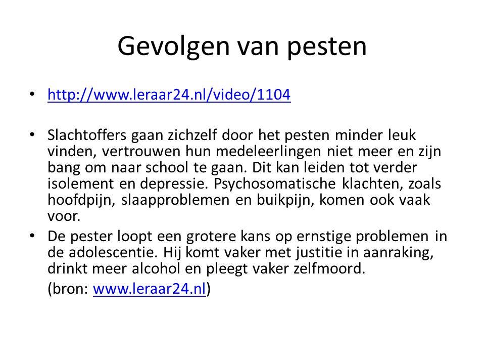 Gevolgen van pesten http://www.leraar24.nl/video/1104 Slachtoffers gaan zichzelf door het pesten minder leuk vinden, vertrouwen hun medeleerlingen niet meer en zijn bang om naar school te gaan.