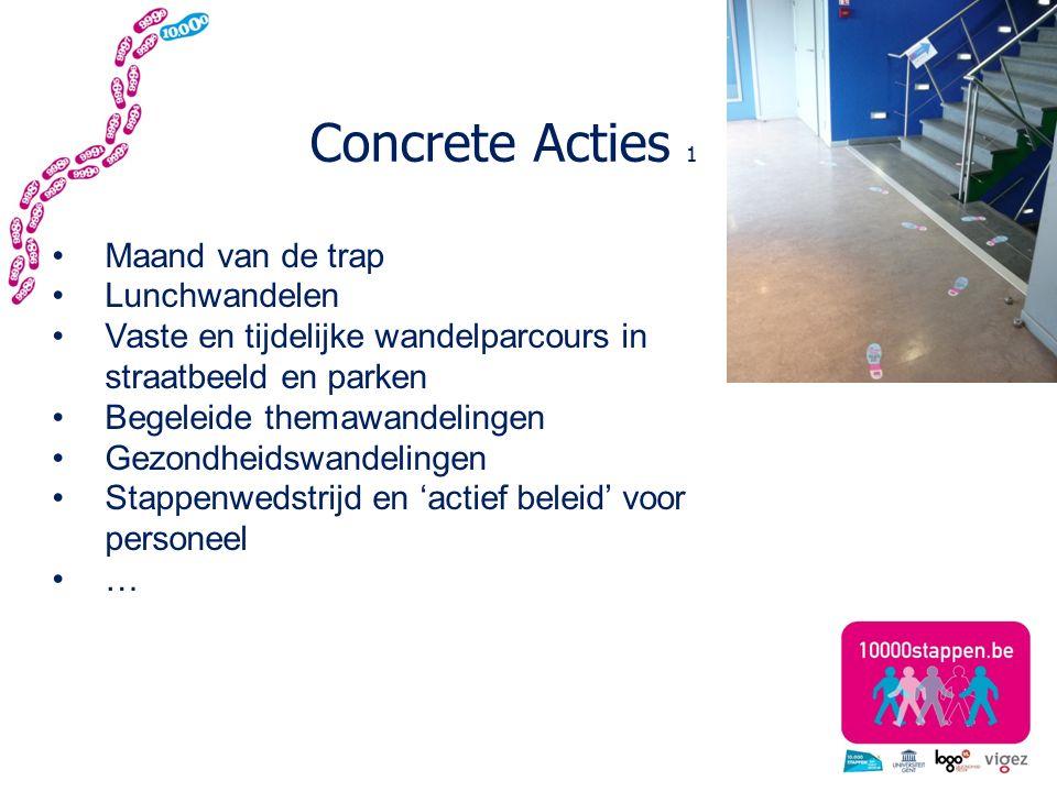 Concrete Acties 1 Maand van de trap Lunchwandelen Vaste en tijdelijke wandelparcours in straatbeeld en parken Begeleide themawandelingen Gezondheidswandelingen Stappenwedstrijd en 'actief beleid' voor personeel …
