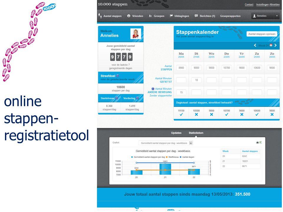 online stappen- registratietool