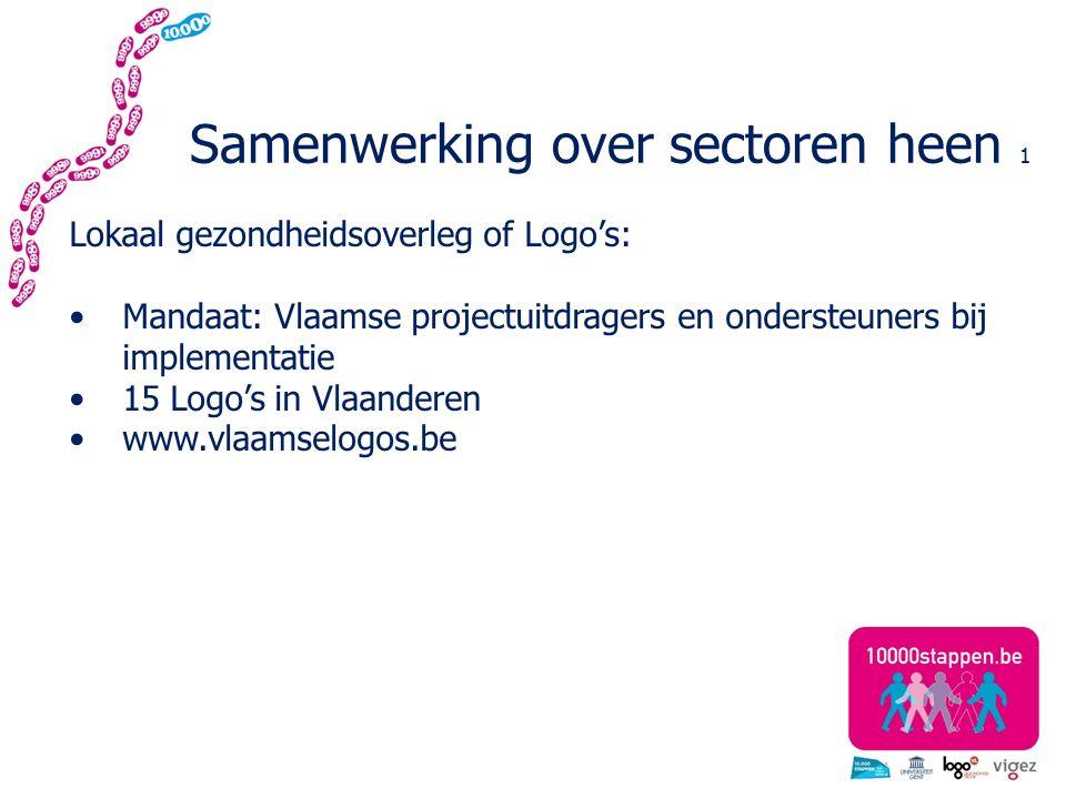 Samenwerking over sectoren heen 1 Lokaal gezondheidsoverleg of Logo's: Mandaat: Vlaamse projectuitdragers en ondersteuners bij implementatie 15 Logo's in Vlaanderen www.vlaamselogos.be
