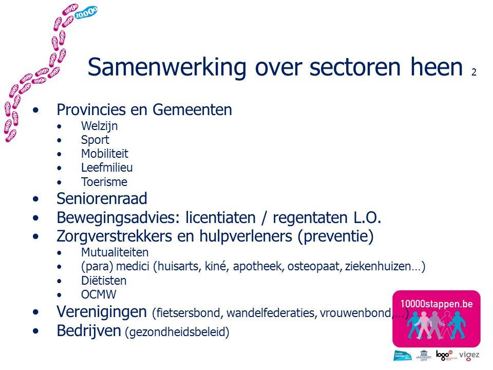 Samenwerking over sectoren heen 2 Provincies en Gemeenten Welzijn Sport Mobiliteit Leefmilieu Toerisme Seniorenraad Bewegingsadvies: licentiaten / regentaten L.O.