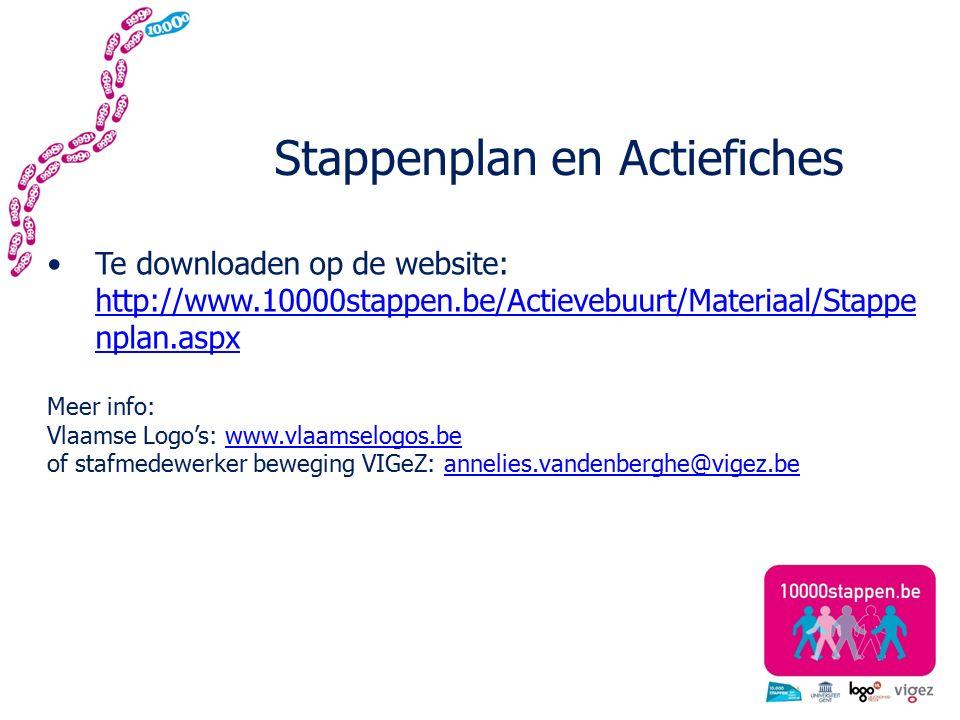 Stappenplan en Actiefiches Te downloaden op de website: http://www.10000stappen.be/Actievebuurt/Materiaal/Stappe nplan.aspx http://www.10000stappen.be/Actievebuurt/Materiaal/Stappe nplan.aspx Meer info: Vlaamse Logo's: www.vlaamselogos.bewww.vlaamselogos.be of stafmedewerker beweging VIGeZ: annelies.vandenberghe@vigez.beannelies.vandenberghe@vigez.be
