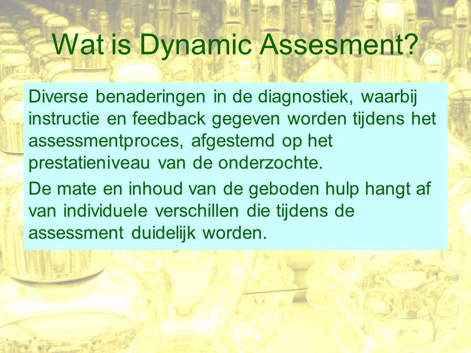 Wat is Dynamic Assesment? Diverse benaderingen in de diagnostiek, waarbij instructie en feedback gegeven worden tijdens het assessmentproces, afgestem